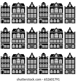 Seamless house pattern - Dutch, Amsterdam houses, retro style