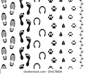 Seamless human footprints and animal tracks
