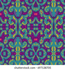 Seamless Ikat Ogee Background Pattern Wallpaper.Ikat Ogee Background Pattern