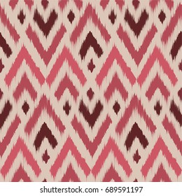 Seamless Ikat ogee pattern as carpet, cloth, curtain, textile design, wallpaper, surface texture background