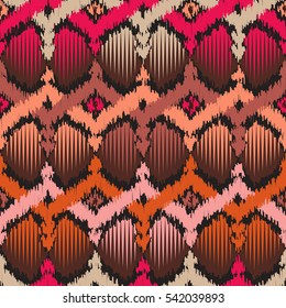 Seamless Ikat Pattern. Shapes in Scribble Style. Ethnic Background for Textile Design. Rough Edges