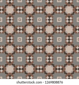Seamless illustrated pattern made of abstract elements in beige, gray and different shades of brown