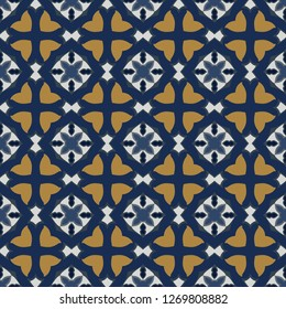 Seamless illustrated pattern made of abstract elements in white, orange and blue