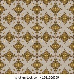 Seamless illustrated pattern made of abstract elements in beige, yellow and shadowes of brown