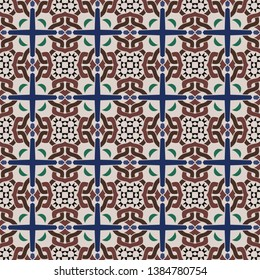 Seamless illustrated pattern made of abstract elements in beige,green, black, blue and brown