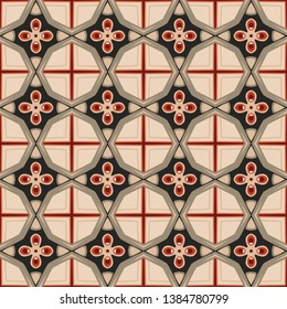 Seamless illustrated pattern made of abstract elements beige, gray, black, red and brown