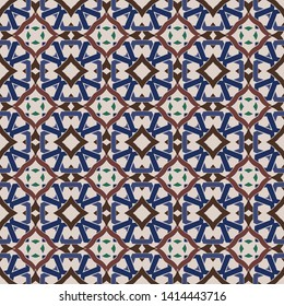 Seamless illustrated pattern made of abstract elements in beige, blue, brown and green