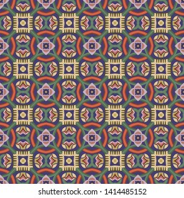 Seamless illustrated pattern made of abstract elements in blue, yellow, red, green, pink and brown