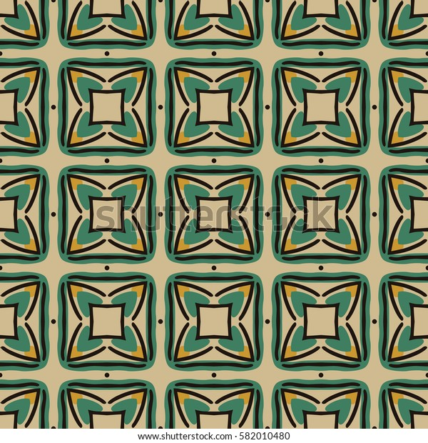 Seamless illustrated pattern made of abstract elements in beige, green, yellow and black
