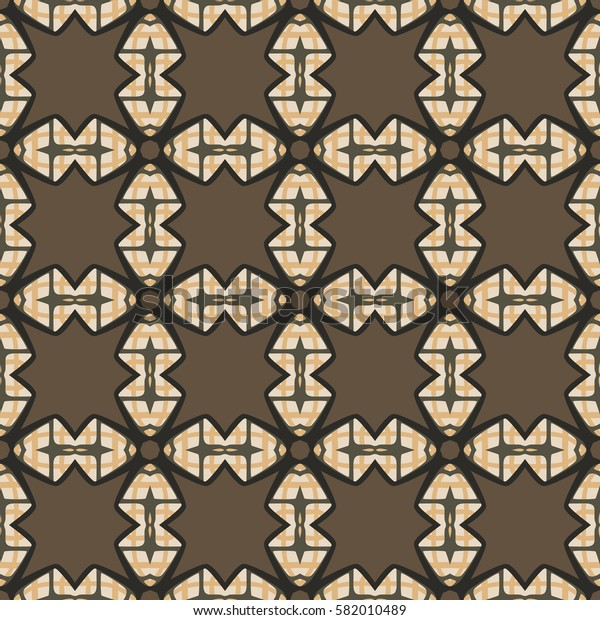Seamless illustrated pattern made of abstract elements in beige, brown, grey,orange and black