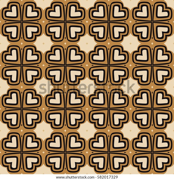 Seamless illustrated pattern made of abstract elements in beige, black, and brown