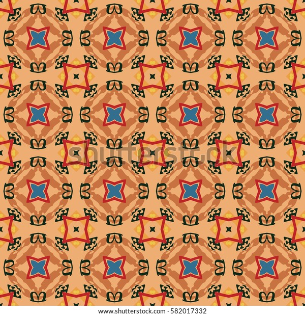 Seamless illustrated pattern made of abstract elements in beige, red, orange, brown, yellow, turquoise and black