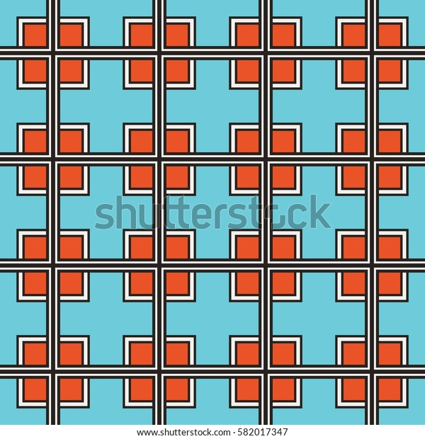 Seamless illustrated pattern made of abstract elements in turquoise, white, red and black
