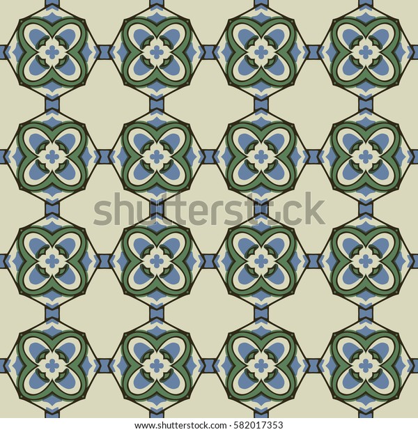 Seamless illustrated pattern made of abstract elements in beige, blue, green and black