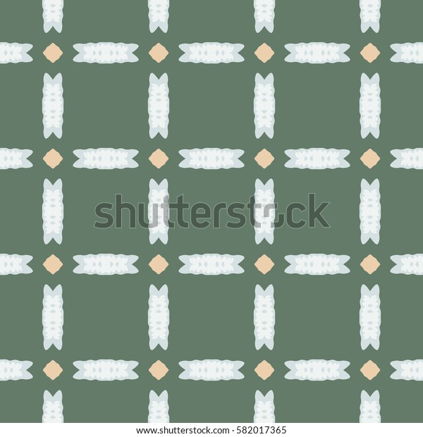 Seamless illustrated pattern made of abstract elements in beige, light blue and green