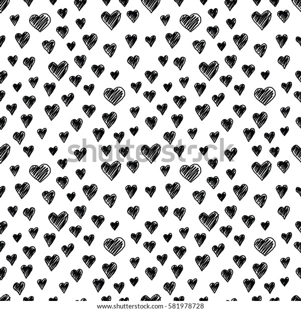Seamless illustrated pattern made of hand drawn hearts on white