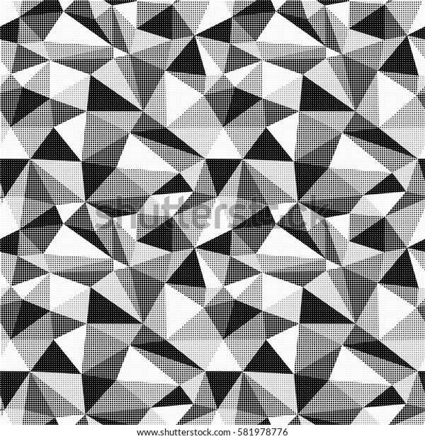 Seamless illustrated pattern made of polygons in black and white