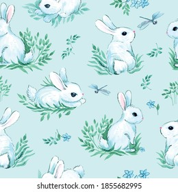 seamless illustration with animals. white rabbits with dragonflies on a light blue background. cute kids ornament