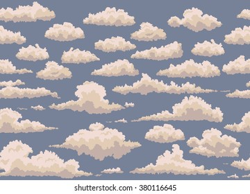 seamless illustration of blue background with vintage clouds