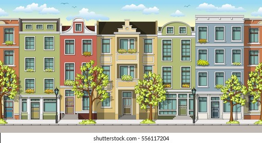 Seamless illustration of a classic family houses