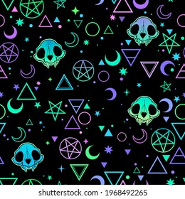seamless illustration depicting magic symbols and skulls