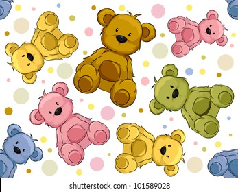 Seamless Illustration Featuring Teddy Bears