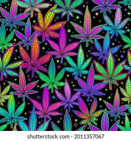 seamless illustration of multicolored rainbow plant leaves