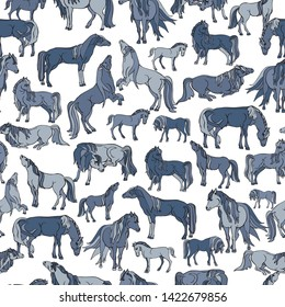 Seamless illustration of relaxing and playful horses in different poses. Vector pattern in shades of indigo, navy, white and grey. Designed for scrapbooking, wallpaper, gift wraps, fabric, home decor.