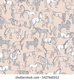 Seamless illustration of relaxing and playful horses in different poses. Vector pattern in shades of cream, soft pink and grey. Designed for scrapbooking, wallpaper, gift wraps, fabric, home decor.