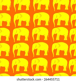 seamless illustration with retro yellow elephant