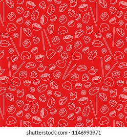 Seamless illustration of sushi vector pattern background