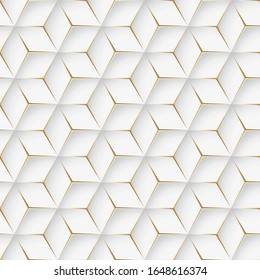 Seamless illustration of white shiny metallic golden background with 3d effect