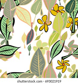Seamless illustrations of leaves & flower. Good for web page, wallpaper, graphic design, catalog, texture or background. Cartoon style vector graphic.
