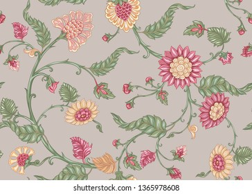 Seamless Indian floral ethnic pattern. Colored vector illustration. On beige background.