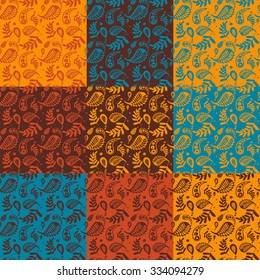Seamless indian pattern. Hand drawn background.