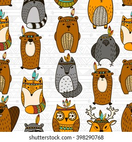 Seamless indian totem animals illustration background pattern in vector