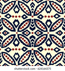 Seamless indigo batik geometric ornament, ethnic motif with rings and rhomboid shapes. Blue and red on ecru background. Textile print.