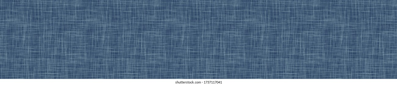 Seamless indigo blue woven linen texture pattern. Denim worn out weave style background. Decorative irregular acid wash japanese boro all over print. Fabric grunge canvas textile effect cloth swatch.