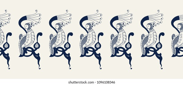 Seamless indigo dye  floral ethnic border. Vector ornament, traditional Russian motif with knotted firebirds on branch, navy blue on ecru background. Textile, wallpaper print.