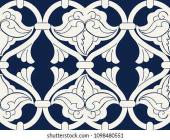 Seamless indigo dye floral ethnic pattern. Vector ornament, traditional Russian motif with flowers and ogee layout, navy blue on ecru background. Textile, wallpaper print.