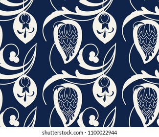 Seamless indigo dye floral ethnic pattern. Vector ornament, traditional Russian motif with garden flowers,  ecru on navy blue background. Textile, wallpaper print.