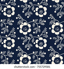 Seamless indigo woodblock printed floral pattern. Vector ethnic ornament, traditional Russian motif with blossoms, branches and dots, ecru on navy blue background. Textile print.
