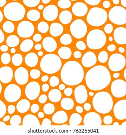 Seamless ink hand drawn circles and bubbles texture on white background. Orange and white endless pattern.