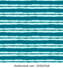 Seamless ink hand drawn stripe texture on white background. Aqua trendy color endless pattern.