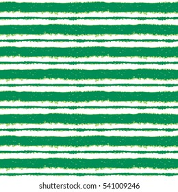 Seamless ink hand drawn stripe texture on white background. Green trendy color endless pattern.