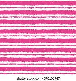 Seamless ink hand drawn stripe texture on white background. Pink trendy color endless pattern.