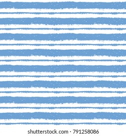 Seamless ink hand drawn stripe texture on white background. Blue and white endless pattern. Ornament in trendy colors.
