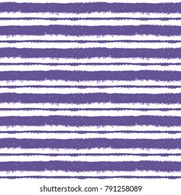 Seamless ink hand drawn stripe texture on white background. Ultra violet and white endless pattern. Ornament in trendy colors.