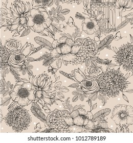 seamless inked floral pattern. vector beautiful background