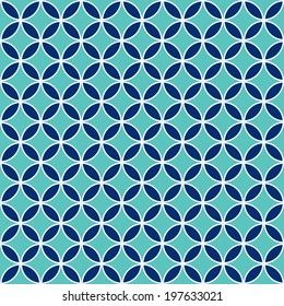 Seamless Intersecting Geometric Vintage Circle Pattern